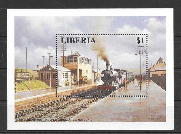 Colección sellos locomotoras de Liberia 1996