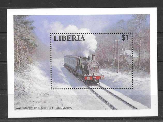 Filatelia sellos trenes Liberia-1996-02