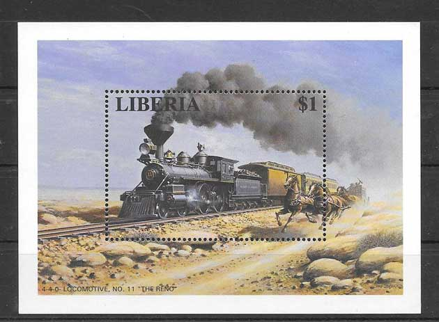 Filatelia sellos trenes Liberia-1996-03