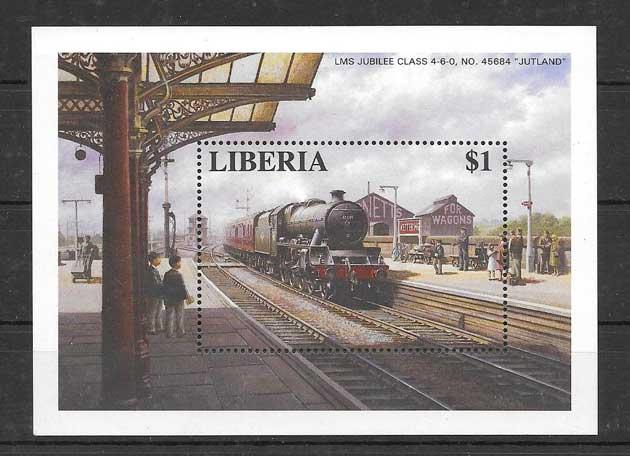 Filatelia sellos trenes Liberia-1996-04
