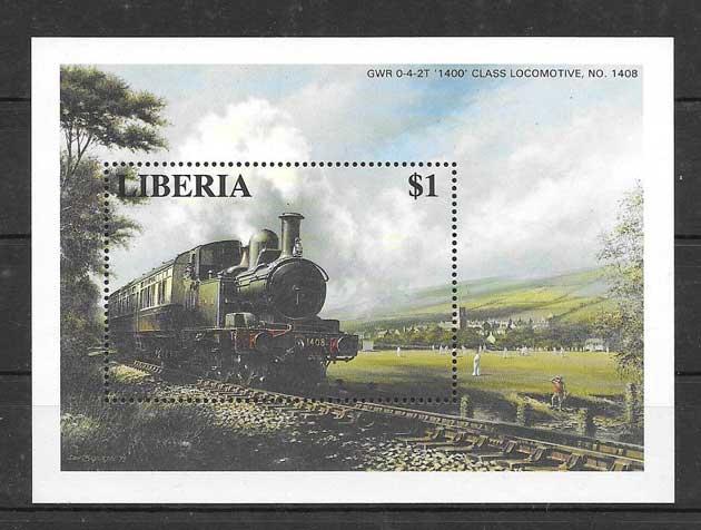 Filatelia sellos trenes Liberia-1996-05
