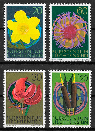 sellos flora Liechtenstein 1972