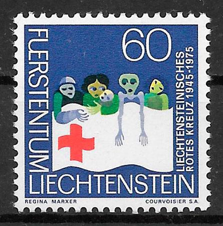 sellos cruz roja Liechtenstein 1975
