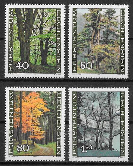 colección sellos flora Liechtenstein 1980
