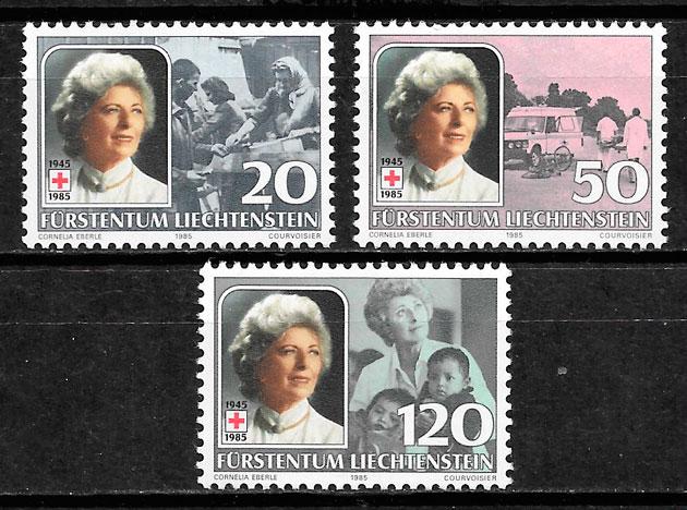filatelia cruz roja Liechtenstein 1985