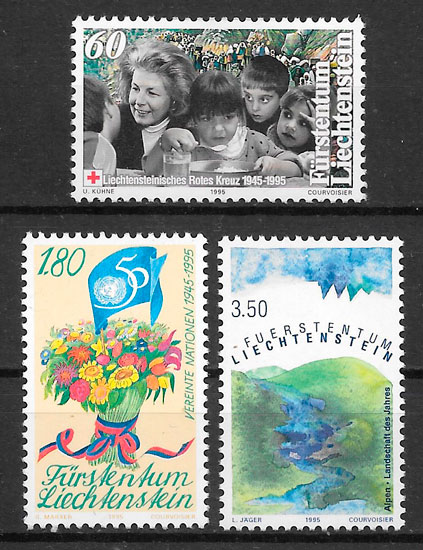 sellos cruz roja Liechtenstein 1995