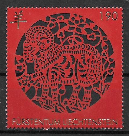 filatelia año lunar Liechtenstein 2014