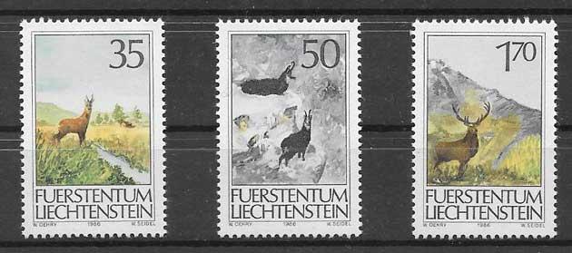 Filatelia fauna Liechtenstein 1986
