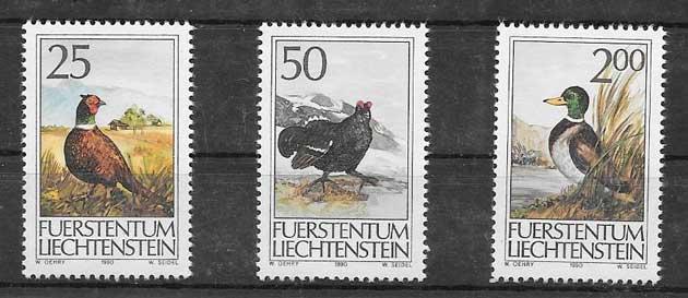 Sellos fauna 1990 Liechtenstein