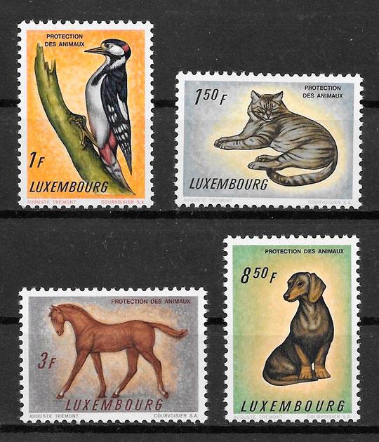 colección sellos fauna Luxemburgo 1961