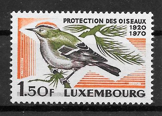 sellos fauna Luxemburgo 1970