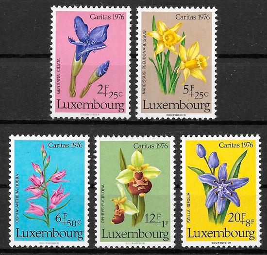 filatelia colección flora Luxemburgo 1976