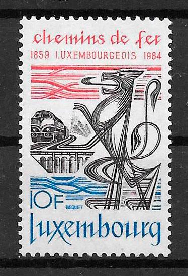 sellos trenes Luxemburgo 1984