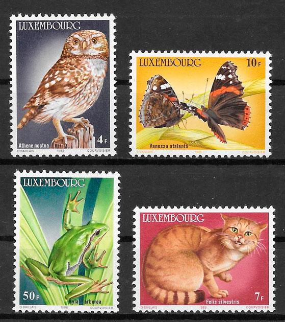filatelia colección fauna Luxemburgo 1985