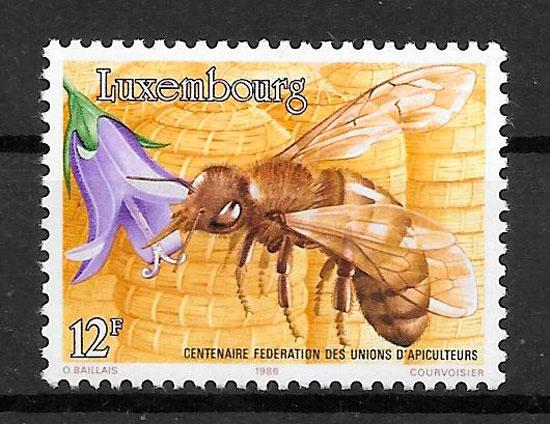 filatelia colección fauna Luxemburgo 1986