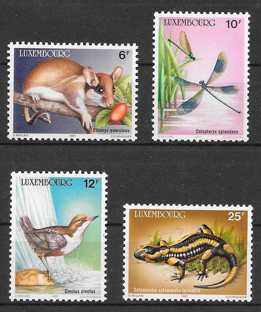colección sellos fauna Luxemburgo 1987
