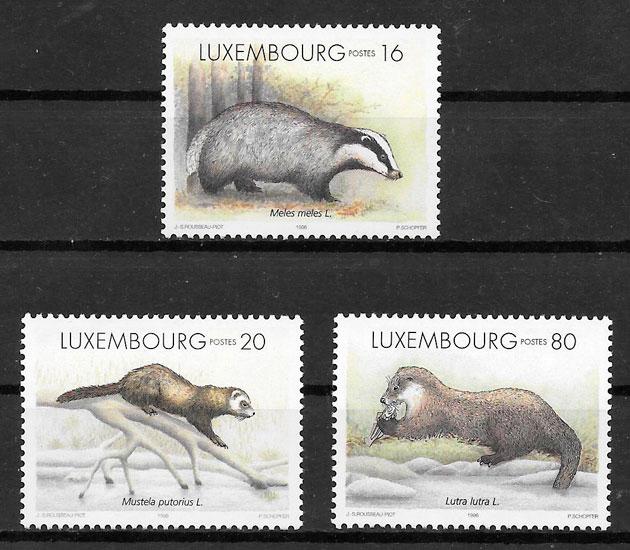 filatelia fauna Luxemburgo 1996