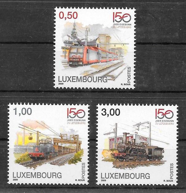colección sellos trenes Luxemburgo 2009