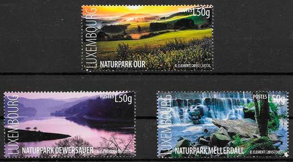 colección sellos parques naturales Luxemburgo 2015