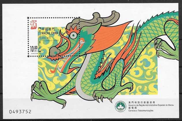 Filatelia año lunar Macao 2000