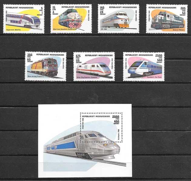 Filatelia sellos trenes transporte ferroviario madagacar