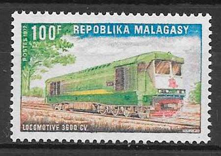 sellos trenes Madagascar 1972