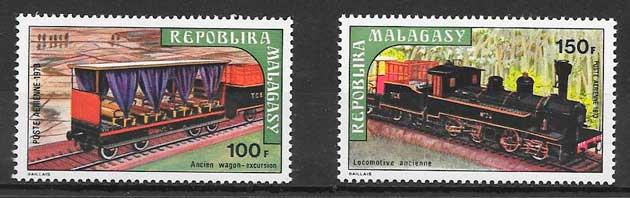 sellos trenes Madagascar 1973