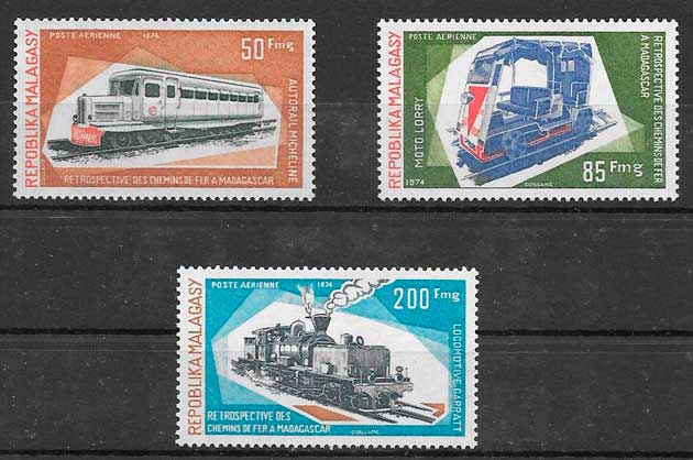 sellos trenes Madagascar 1984