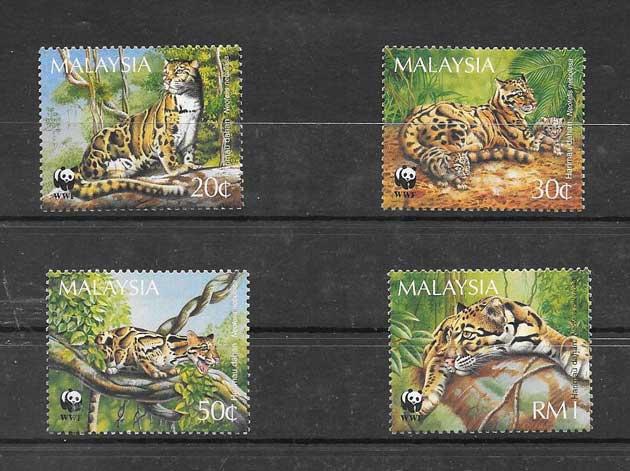 Filatelia Sellos serie de fauna - leopardo