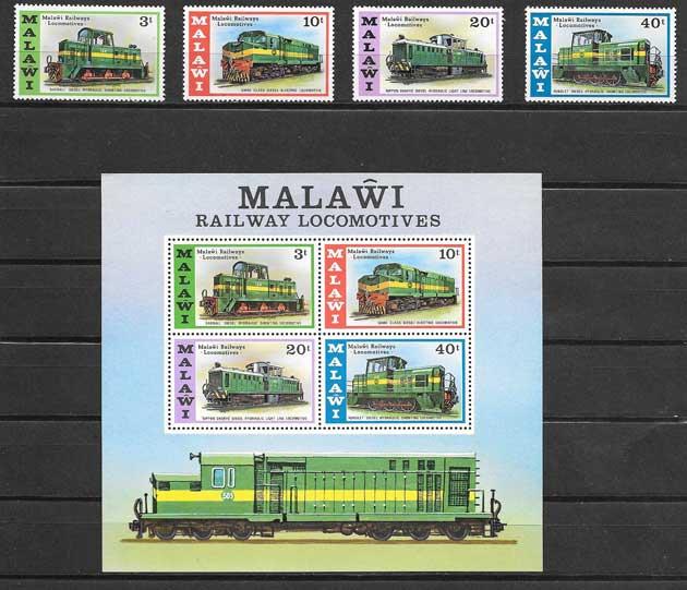 Filatelia sellos trenes locomotoras diésel de Malawui