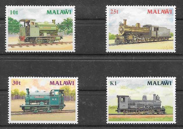 Filatelia sellos trenes locomotoras a vapor 1987