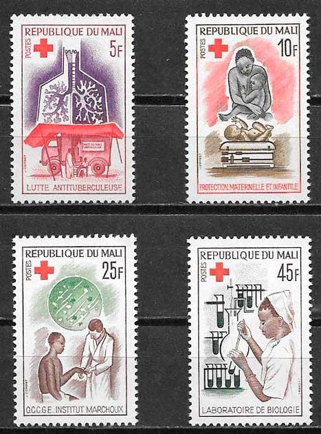 sellos cruz roja Mali 1965