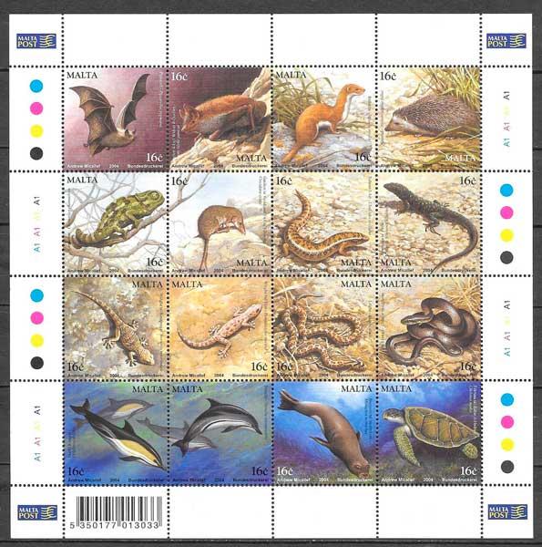 colección sellos fauna Malta 2004
