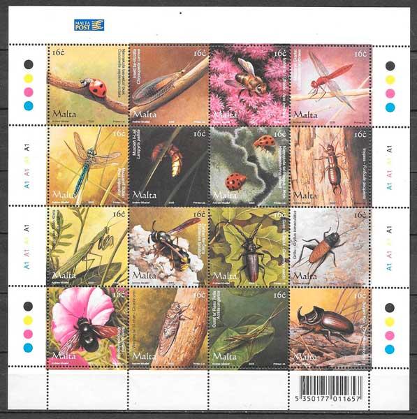 colección sellos fauna Malta 2005
