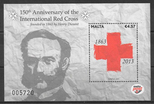 filatelia cruz roja Malta 2013
