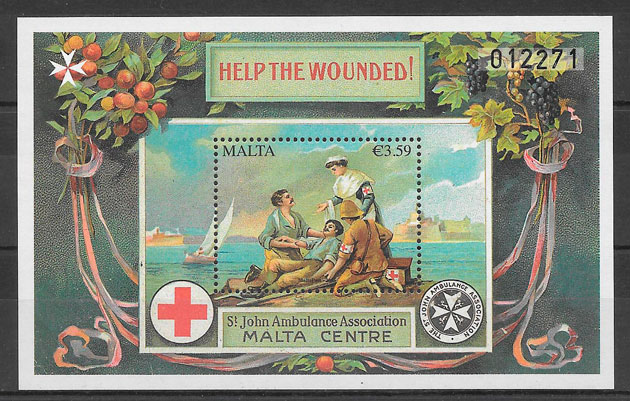 filatelia cruz roja Malta 2015