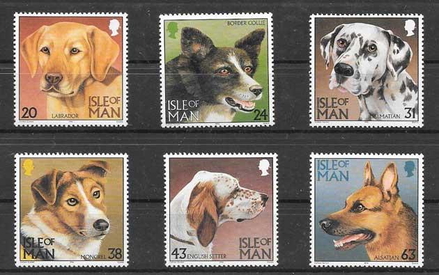 Sellos fauna perros de raza Isla de Man 1996