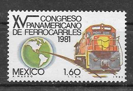 sellos colección trenes México 1981