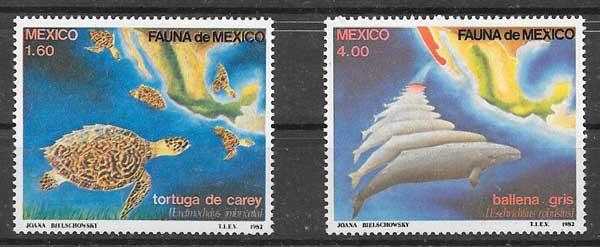 colección sellos fauna México 1982