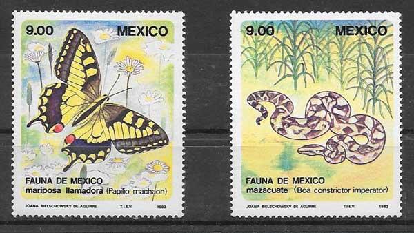 sellos fauna México 1983