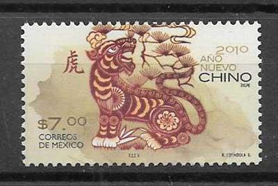 Filatelia Sellos año chino lunar de méxico