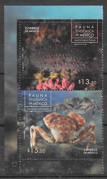 Filatelia fauna México 2014