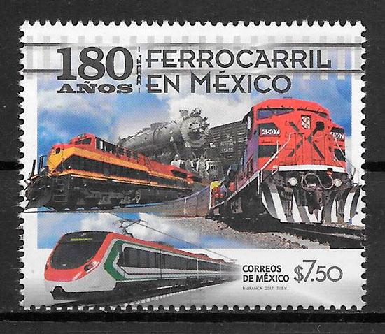 colección sellos trenes Mexico 2017
