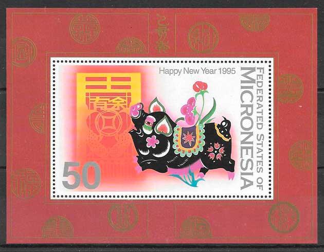 sello año lunar Micronesia 1995