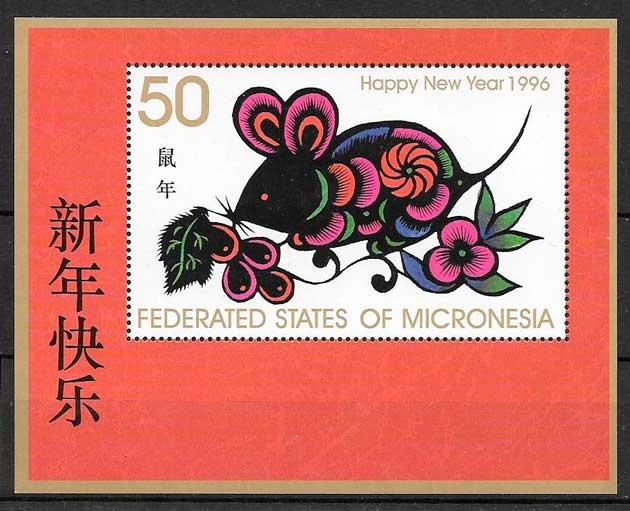 sellos año lunar Micronesia 1996