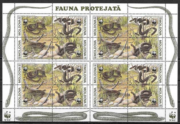 Colección sellos fauna Moldavia 1993