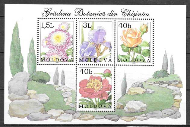 sellos flora Moldavia 2002
