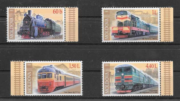Sellos filatelia trenes modernos de moldavia