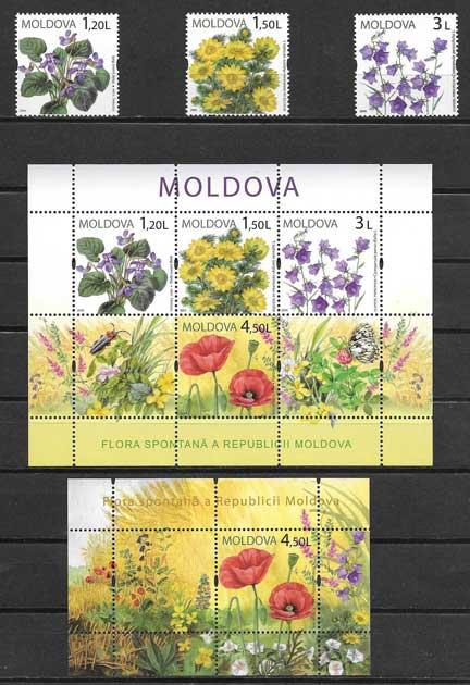 Sellos Filatelia flores de la pradera 2009