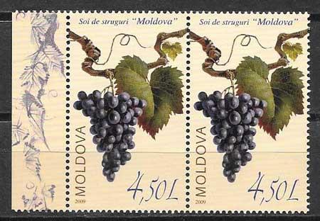 Sellos frutas Moldavia 2009